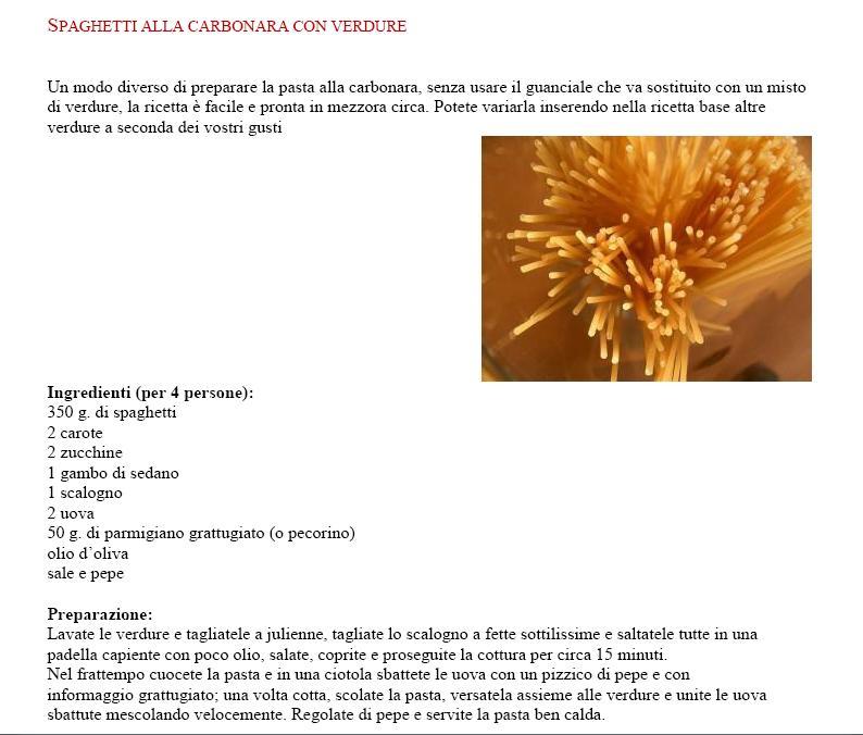 Spaghetti alla carbonara con verdure