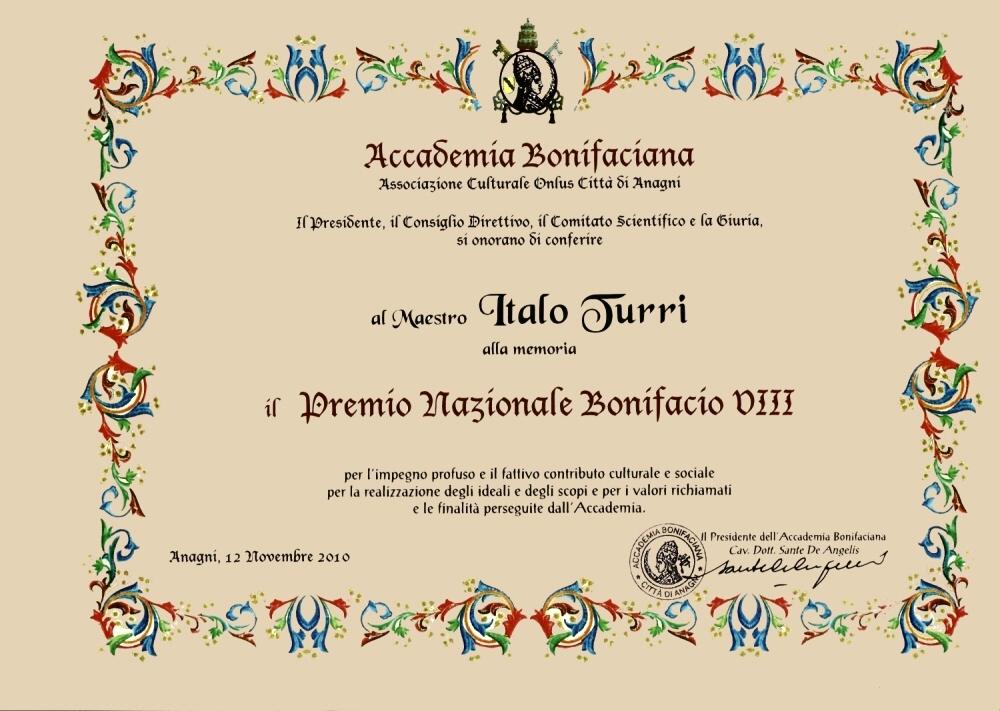 Attestato Premio Bonifacio VIII al Maestro Italo Turri