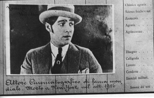 La pagella di Rodolfo Valentino all'Agraria 1926