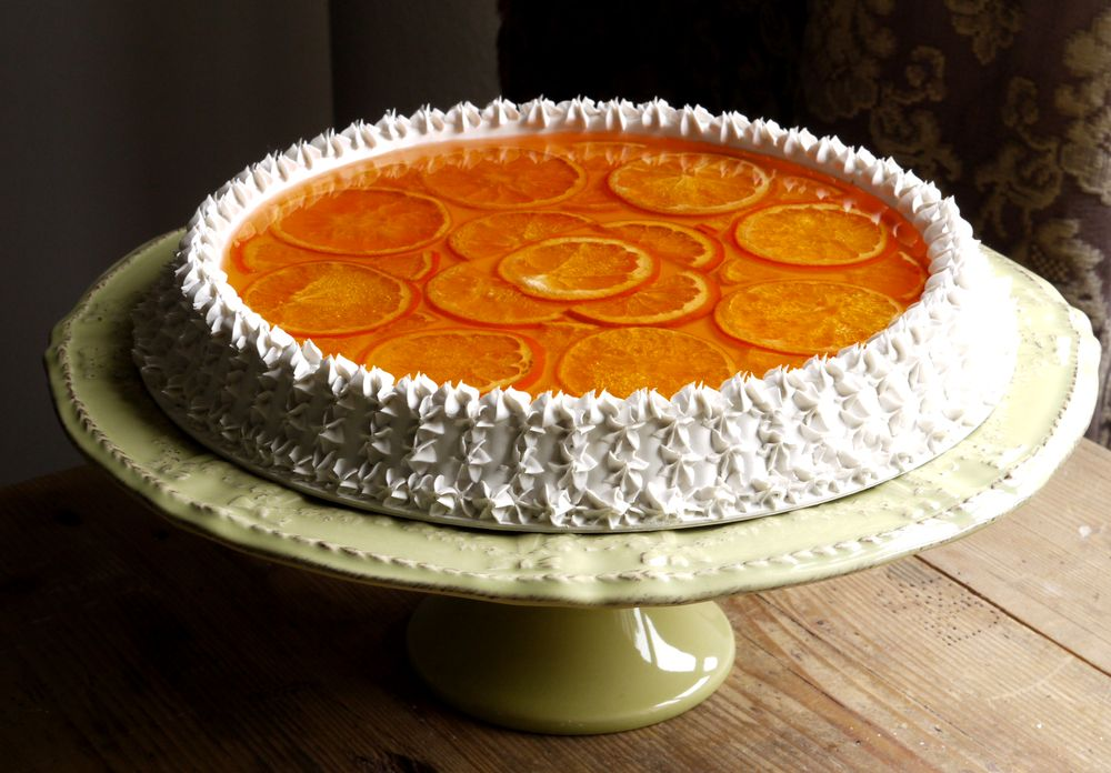 torta bianca con arance e gelatina